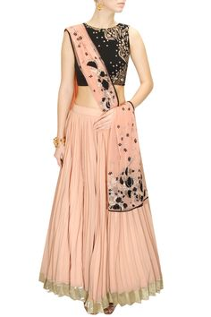 Astha Narang Black & Peach Gold Thread Embroidered #Lehenga Set. Available Only At Pernia's Pop-Up Shop.