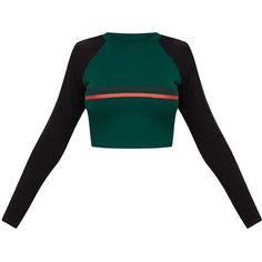 Emerald Green Contrast Stripe Longsleeve Jersey Crop Top ($18) ❤ liked on Polyvore featuring tops, jersey crop top, white top, jersey top, white jersey and long sleeve tops