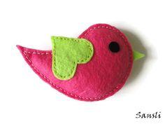 Felt brooch-brooch felt-felt pin-felt bird brooch-bird brooch-animals brooch-felt jewelry-felt accessories-pink bird brooch