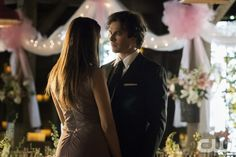 """Vampire Diaries -- """"I'll Wed You in The Golden Summertime"""" -- Image Number: VD621a_0330.jpg -- Pictured (L-R): Nina Dobrev as Elena and Ian Somerhalder as Damon -- Photo: Tina Rowden/The CW -- © 2015 The CW Network, LLC. All rights reserved."""