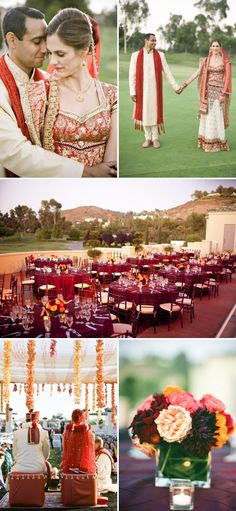 Rishi & Kristin's weddings - Indian ceremony & Christian ceremony from Style Me Pretty. Both of these weddings are GORGEOUS! I absolutely LOVE the colors of the Indian ceremony and I love the place settings of the Christian reception. <3