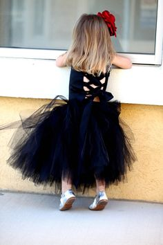 Black Flower Girl Dress----Tutu and Satin Corset Top with Sequined Straps--Removable Flowers--Weddings-Pageants-Portraits-Tons of Colors. $135.00, via Etsy.