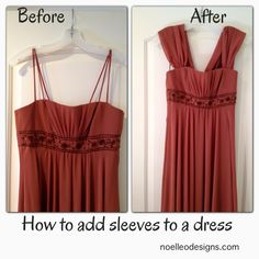 step by step tutorial: how to add sleeves to a strapless dress