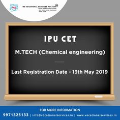 IPU CET M.Tech (Chemical Engineering) Exam 2019 Register Now. Last Date For Registration May Contact Us For More Information 9971325133 Email-Id: info Engineering Exam, Engineering Colleges In India, Chemical Engineering, Counseling Psychology, Career Counseling, New College, Medical College, Graduate School, Law School