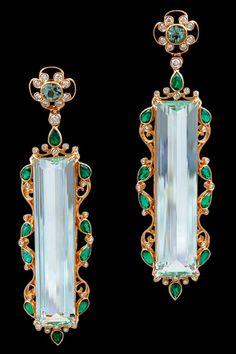 Aquamarine, Beryl, Diamond, and Emerald Earrings