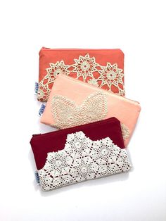 Zipper Clutch Bag with Vintage Lace by JuneberryStitches on Etsy
