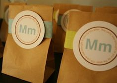 """Alphabet/flashcardparty: favors are bags full of M's. """"This party was brought to you by the letter Mm."""""""