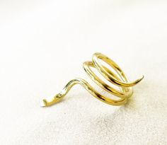 Mykonos spiral brass ring size 7.5 to 8 BISJOUX pure by BISJOUX, $45.00