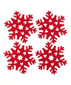 Take a look at this Red Snowflake Charger - Set of Four by Design Imports on #zulily today!