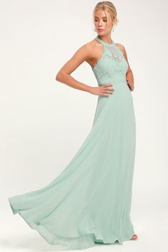 8c49a315f76 Dance All Evening Sage Green Lace Maxi Dress Sage Bridesmaid Dresses