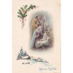 1965 scena Natività Gesu' Bambino Sacra Famiglia bue asino cartolina di Natale