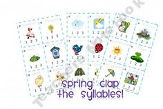 Spring Clap the Syllables (Pre-K thru Preschool Rules, Preschool Literacy, Kindergarten Activities, Classroom Activities, Reading Activities, Classroom Ideas, Education And Literacy, Literacy Centers, Reading Centers