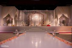Indian Wedding Ceremony in Dallas, TX Indian Wedding by MnMfoto Wedding Photography Reception Stage Decor, Wedding Reception Backdrop, Wedding Mandap, Reception Ideas, Wedding Dress, Indian Wedding Stage, Wedding Hall Decorations, Luxury Wedding Decor, Wedding Looks