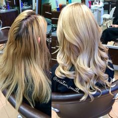 Before and after of this blonde color correction! Client came in with brassy, uneven blonde hair. I softened her base and added balayage highlights with @olaplex all over to create a more natural blonde look!  #beautybycristen