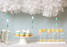 Shower/Umbrella theme - love the decorations here!!  Can incorporate the ducky ideas in this theme.