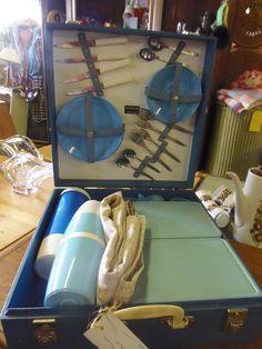 Vintage Picnic set @  Grandads Curious Attic @ Dorchester Curiosity Centre Come and browse have lunch! Sold