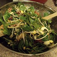 Spinach Salad with Bacon, Sprouts, and Water Chestnuts by Karen Kaestner