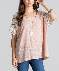 This Grapefruit Crochet-Sleeve Tunic is perfect! #zulilyfinds