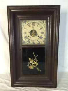 ANTIQUE 1882 WM L GILBERT CLOCK CO WINSTED CONNECTICUT 8-DAY MANTLE WALL CLOCK