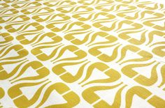 "Home fabric Cotton Linen - "" I Heart Pipe- Mustard"" ~ New Mom Designs"