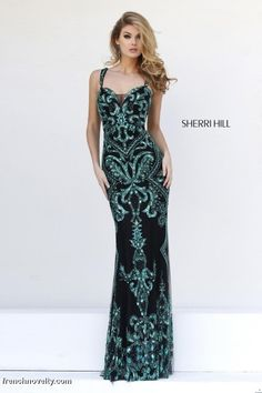 Sherri Hill 9751 Long Homecoming Dress- Floor length evening dress features a sheer embroidered beaded design.