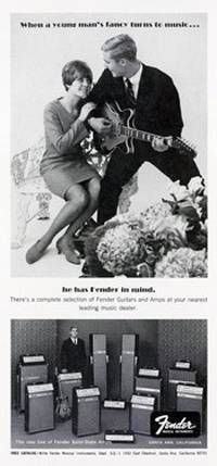 """""""When A Young Man's Fancy Turns to Music"""" Fender Guitar Ad from the 60s"""