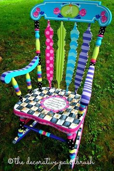 Created for a first grade teacher. What a fun reading chair! Created by Mary Mollica of the decorative paintbrush