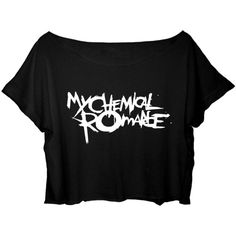 ASA Women's Crop Top My Chemical Romance Shirt Rock Band MCR T-shirt ($25) ❤ liked on Polyvore featuring tops, t-shirts, shirts, t shirts, crop tee, crop top, rock t shirts and rock shirts