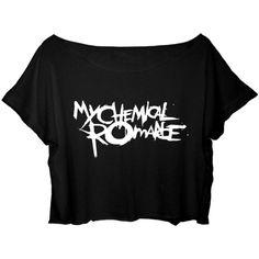 ASA Women's Crop Top My Chemical Romance Shirt Rock Band MCR T-shirt ($25) ❤ liked on Polyvore featuring tops, t-shirts, shirts, t shirts, crop tee, crop top, rock t shirts and rock shirts