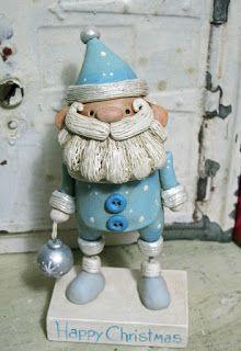 Snowy Santa in blue Christmas folk art original sculpture by Janell Berryman Pumpkinseeds art by JanellBerryman on Etsy Handmade Art, Handmade Gifts, All Holidays, Sculpture, Blue Christmas, Decorative Bells, Folk Art, Snowman, Polymer Clay