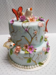 A la det her, bare kun med fondant Pretty Cakes, Cute Cakes, Beautiful Cakes, Amazing Cakes, Unique Cakes, Creative Cakes, Elegant Cakes, Fondant Cupcakes, Cupcake Cakes