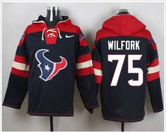 Nike Houston Texans #75 Vince Wilfork Navy Blue Player Pullover NFL Hoodie
