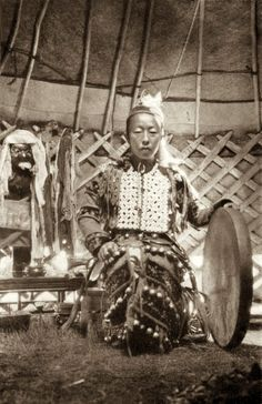 Dagur shaman with her drum, 1931                                                                                                                                                                                 More