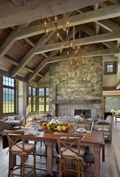 Rustic living room, stone fireplace