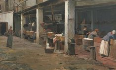 Santiago Rusiñol  SPANISH  1861 - 1931   LAVADEROS DE LA BARCELONETA (THE WASHING PLACE, BARCELONA)  Estimate:70,000 - 100,000 GBP   signed S. Rusiñol lower left   oil on canvas 56 by 93 cm., 22 by 36¾in.