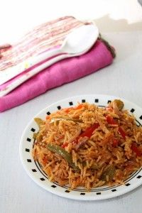 Capsicum rice recipe with step by step photos - basmati rice is cooked with colored bell peppers, onion, yogurt and some spices. Vegetarian Rice Recipes, Easy Rice Recipes, Side Dish Recipes, Capsicum Recipes, Rice Side Dishes, Desi Food, How To Cook Rice, Risotto Recipes, Delicious Dinner Recipes