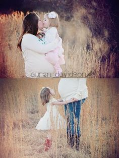 Maternity photography with older siblings. Pregnancy pictures in field at sunset with toddler in cowboy boots. Maternity portrait in the winter or summer with ivory and turquoise. Unique maternity pictures with daughter toddler. #LaurenDavidsonPhotography