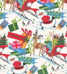 Vintage Christmas Wrap Santa by hmdavid, Z Old Time Christmas, Old Fashioned Christmas, Noel Christmas, Christmas Paper, Retro Christmas, Christmas Greetings, Christmas Presents, Preppy Christmas, Christmas Humor