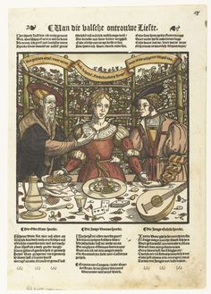 Anonymous | De valse liefde, Anonymous, Peter Warnerssen, 1550 - 1560 | Jonge vrouw tussen een oude man van wie zij geld neemt, en een jonge man aan wie zij het geld geeft. Op de tafel voor hen liggen speelkaarten, een luit, bloemen, eten en drinken en de zak met geld. Boven hen een banderol met tekst. Boven en onder prent tekst in het Nederlands.