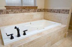Lg rectangle tiles around tub. Sm tile above to finish Bathtub Tile, Bath Tiles, Bath Tub, Jetted Bathtub, Master Bathroom Tub, Bathtub Surround, Bathroom Inspiration, Bathroom Ideas, Bath Remodel