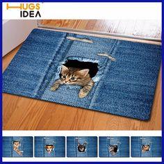 HUGSIDEA Kawaii 3D Denim Cat Dog Carpet Non-slip Kitchen Tapetes Rugs Para Casa Sala for Living Room Alfombras Tapis Salon