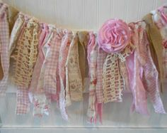 Shabby Burlap Lace Pink Wedding /Torn Fabric Rag Garland /Bunting/Cottage/Banner/ Vintage Garland /Engagement/ Baby /The Anna Grace