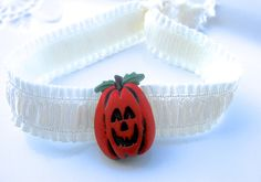 Halloween Hair Accessories, Halloween Hair Ties, Jack O Lantern, Fold Over Elastic, Halloween Button, Pumpkin Button, Elastic Bracelet by EyeCandiShoppe on Etsy