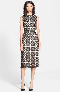Korovilas 'Anna' Lace Midi Sheath Dress available at #Nordstrom
