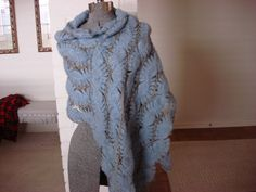 Shawl Mohair crochet shawl/scarf unusual design. $12.00, via Etsy.