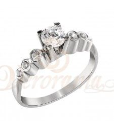Μονόπετρo δαχτυλίδι Κ18 λευκόχρυσο με διαμάντι κοπής brilliant - MBR_087