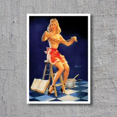 ca.1940s Sexy Chef // Pin-Up Girl // Artist: Gil Elvgren // High Quality Fine Art Reproduction Giclée Print // Vintage Poster by WiredWizardWeb on Etsy