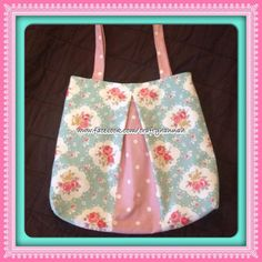 Pleated Tote Bag Blue Floral - The Supermums Craft Fair