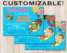 Customizable Pool Party Invitation - Digital or Printed Pool Party Invitations, Custom Invitations, White Envelopes, I Am Happy, 3rd Birthday, Color Show, Card Stock, Custom Design, Pure Products