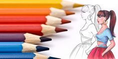 Learn how to color with colored pencils your fashion sketches and designs. Easy to follow 7 tips to improve your coloring technique and let you draw better